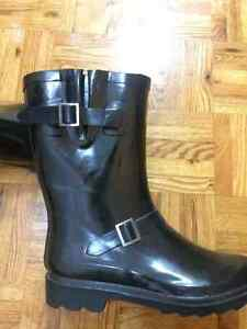 Black stylish rubber boots