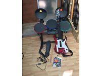 Wi Drum and Guitar entertaining set with DVD