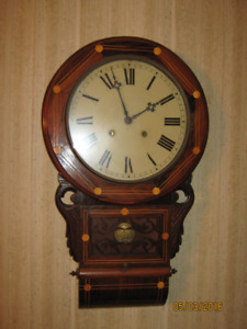 Butternut Wall Clock with Birds-eye Maple inlay  (1800's)