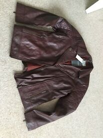 Fabulous ladies Fat Face brown leather jacket size 14
