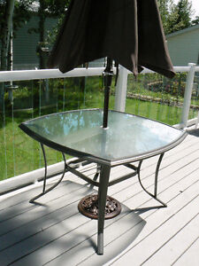 Martha Stewart glass top table with umbrella and stand