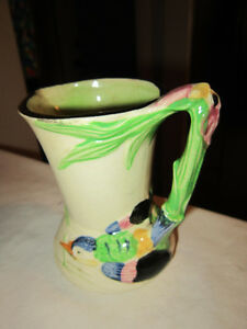 Vintage - Art Pottery Vase - Featuring a Bird & Orchid Handle