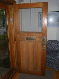 Antique Solid Oak Exterior and Storm Door Set with Oak Frame