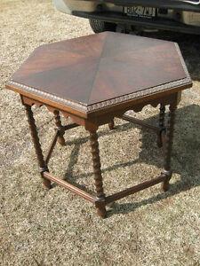 antique oak hexagon  table, 6 sided, barley twist legsSolid cons