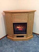 Fire Place-Oak Finished Electric,storage compartment,heater