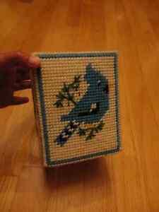 Handmade vintage blue jays square tissue box cover