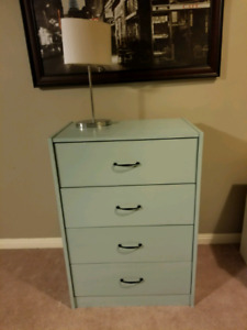 4 drawer tallboy dresser painted in serenity blue
