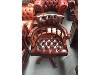 Fantastic vintage oxblood leather Chesterfield captains chair del available