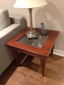 Console et table d 'appoint en bois et verre