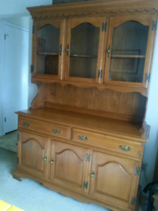 Roxton Solid Maple Hutch and Buffet - Excellent Condition