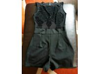 Black playsuit with lace size 8