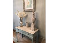 PRETTY SHABBY CHIC DUCK EGG CONSOLE TABLE