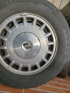 Four 15 inch rims. Buick symbol pops off.