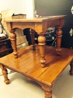 Coffee table + 2 end tables!! Solid oak