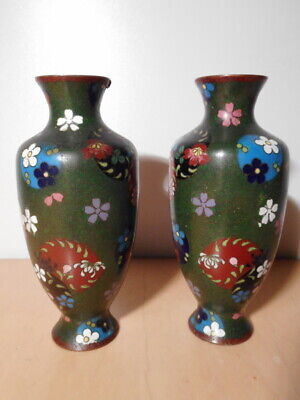 Pair Vase Chinese Enamel Enamels Cloisonne Pattern Flower China