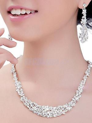 Stunning Bridal Wedding Silver Plated Rhinestone Crystal Necklace Earrings Set