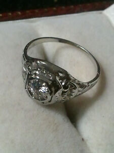 stunning  Victorian 18 k white gold European cut diamond 600