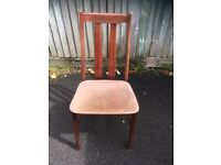 4 mahogany chairs with beige seat