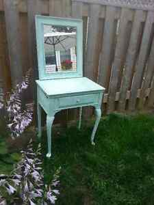 Antique sewing table turned vanity