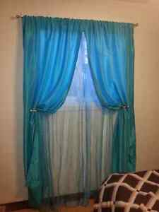 one pair polyester of sheer blue curtains