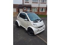 Upgraded Smart Fortwo Brabus Convertible in Pearl White Wrap