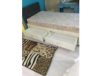 Single divan bed with mattress & Two drawers