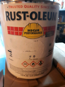Rustoleum paint 10 gallons red 2 gallons stone grey