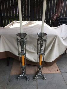 Art Deco Funeral Church Bakelite, and metal Candle Holders