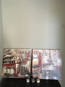 Moving Sale - Paris & Rome matching Canvas Paintings