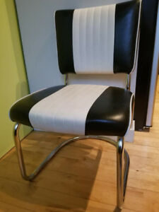 2 Retro Leather Diner Chairs