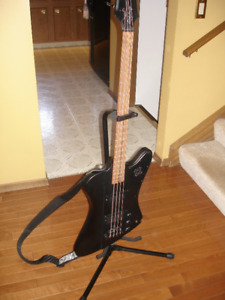 """*MUST SELL* Epiphone """"Goth"""" Model Bass Guitar with Accessories"""