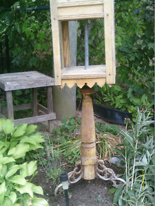 Unique and Perhaps One of Kind Wood/Wrought Iron Planter/Feeder