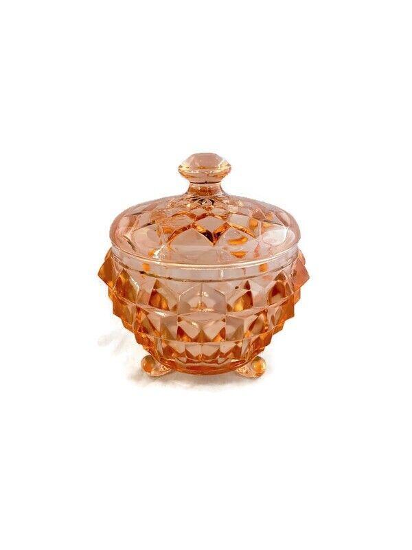Pink Cube Design Depression Glass Powder Jar
