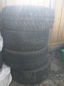 Set of Winter tires on rims.