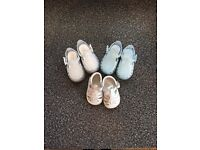 Baby boys Pretty Original & Igor shoes size 18 white, pale blue and clear