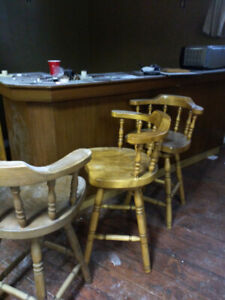 Bar and stools for sale.  Solid wood.  300 or best offer.
