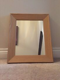 Oak framed small mirror