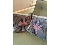 Postage stamp cushions with the queen / British flag quirky cute unusual