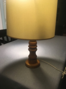 Round White Lamp Shade  with Wooden Base