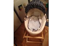 Moses basket, stand, cover and sheets