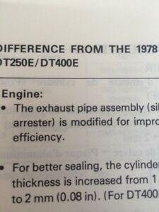 1979 Yamaha DT250F/DT400F Model Guide Service Manual Regina Regina Area image 3