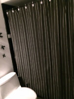 Like new Alfred Sung black & white pin stripes shower curtains
