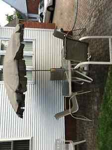 Patio Set (Table, 4 Chairs, Umbrella)
