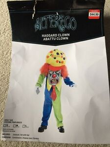 Brand New Adult Haggard Clown Costume - size small