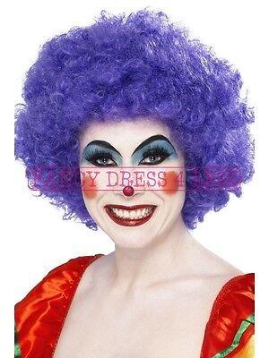 Women's Purple Funky Clown Wig & Red - Comic Themen Kostüm