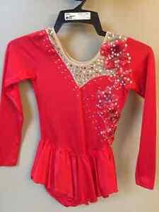 Girls Red Long Sleeved Floral Sz 12 - 14 Skating Dress