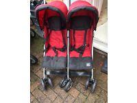 Double twin buggy stroller pushchair pram