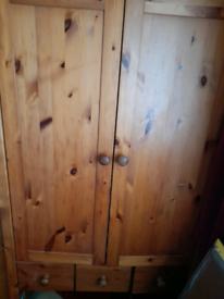 Tallboy pine wardrobe