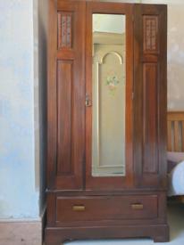Vintage Edwardian Matching Bedroom Dresser, Wardrobe & Chair.