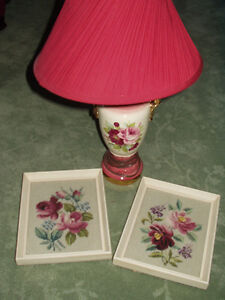From Great Aunts Estate - Antique 1940s Roses Lamp + Needlepoint